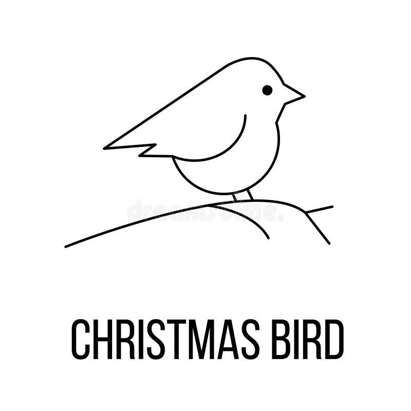 圣诞节鸟象或商标线艺术样式 向量例证