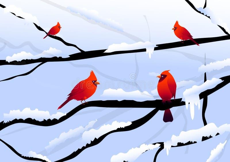 圣诞节鸟&冬天风景 向量例证