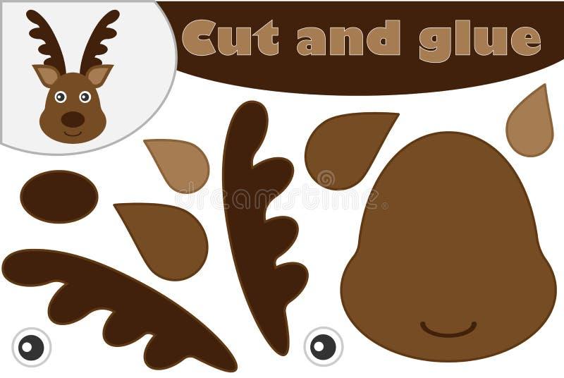 圣诞节鹿动画片样式、教育比赛学龄前孩子的发展的,创造appliq的用途剪刀和胶浆 向量例证