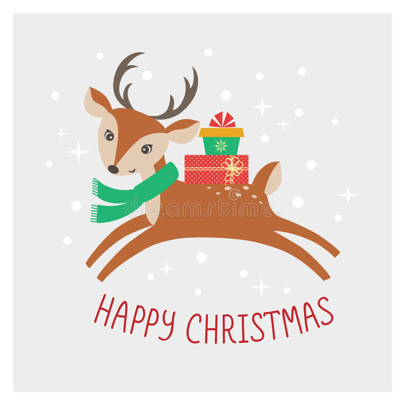 圣诞节鹿卡片 库存例证