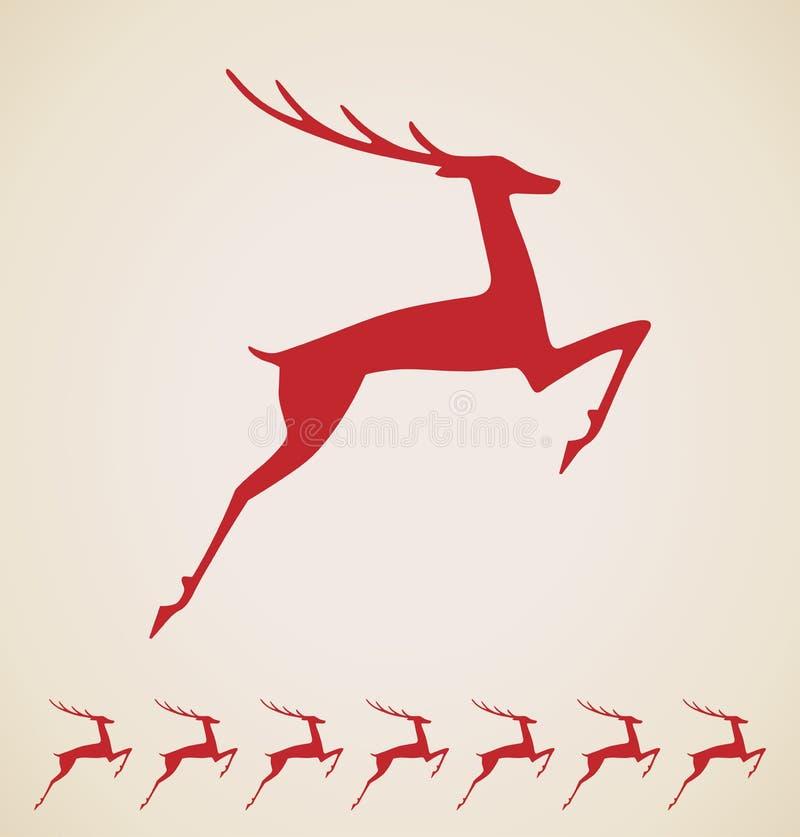 圣诞节鹿葡萄酒要素 向量例证