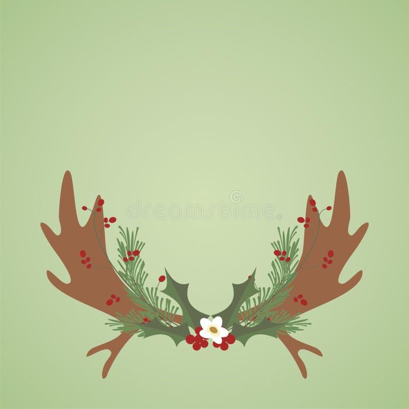 圣诞节麋鹿角和花有绿色背景 免版税库存图片