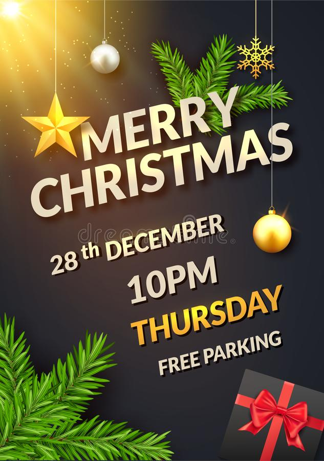 圣诞节黑背景海报或飞行物邀请 圣诞节球星和礼物盒有杉树的设计装饰 皇族释放例证