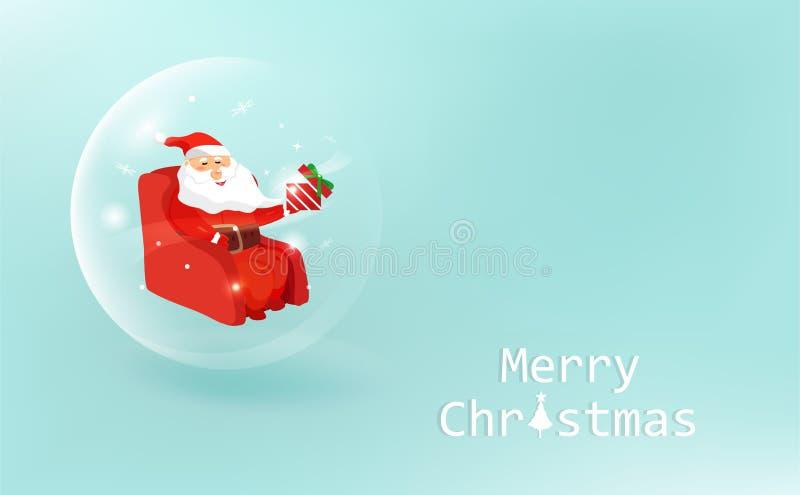 圣诞节,光滑的球装饰,圣诞老人项目给在嘘一件礼物 皇族释放例证
