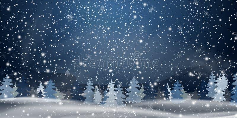圣诞节,夜斯诺伊森林地风景 背景蓝色雪花白色冬天 假日圣诞快乐的冬天风景与冷杉 向量例证