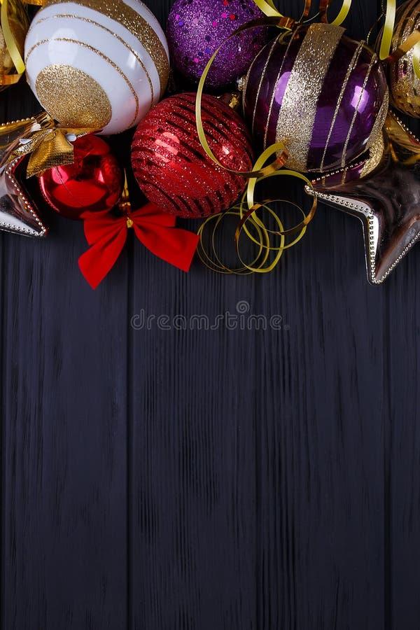 圣诞节,新年假日构成欢乐装饰 免版税库存照片