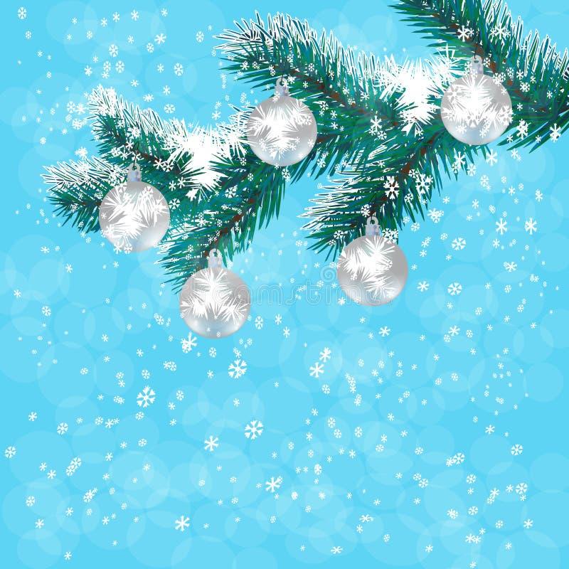 圣诞节,新年的卡片 在分支蓝色圣诞树的银色球 落的雪背景  例证 皇族释放例证