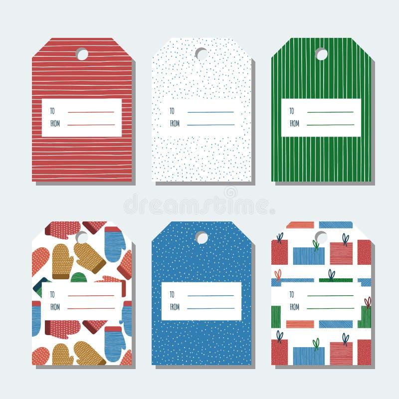 圣诞节,新年礼物标记 套圣诞节礼物的五颜六色的明亮的寒假标签设计 库存例证