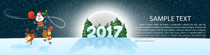 圣诞节,横幅2017年, panoramma 在雪橇的快活的圣诞老人与鹿和雄鸡 与设计要素的向量例证 Moonli 免版税库存照片