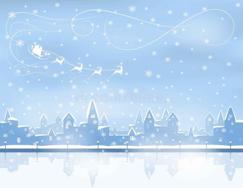 圣诞节,降雪的镇 库存例证