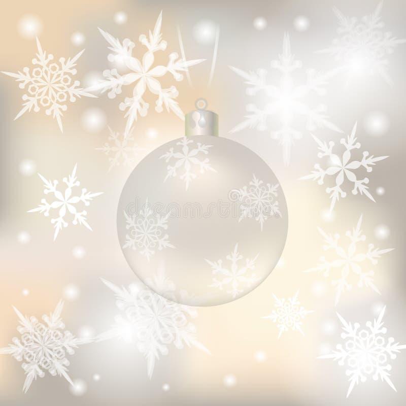 圣诞节,贺卡的新年欢乐背景 与senezhinkami例证的银色球 向量例证