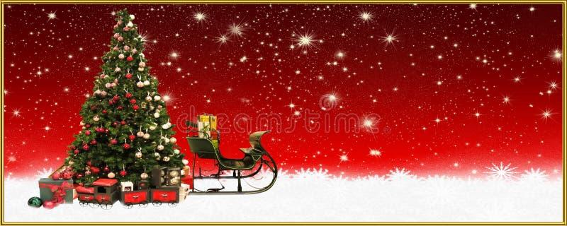 圣诞节:圣诞树和圣诞老人` s雪橇,横幅,背景 皇族释放例证