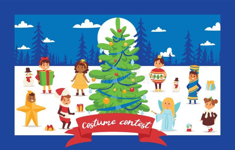 圣诞节2019个新年快乐贺卡愉快的孩子儿童服装传染媒介背景横幅假日冬天xmas 库存例证