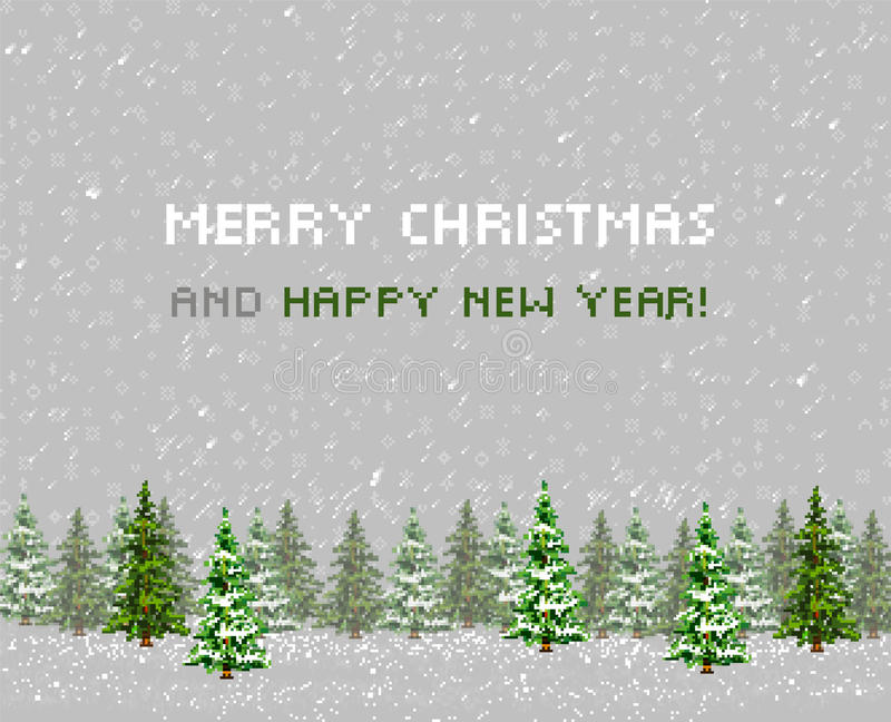 圣诞节贺卡树。Pixelart 皇族释放例证