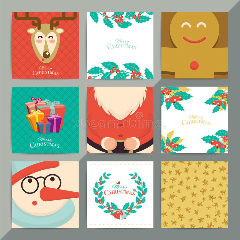 圣诞节贺卡模板集合 传染媒介xmas邀请位置 库存例证