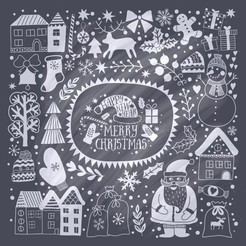 圣诞节贺卡模板,传染媒介圣诞快乐 寒假设计,框架花圈设计由幼稚乱画做成:圣 库存例证