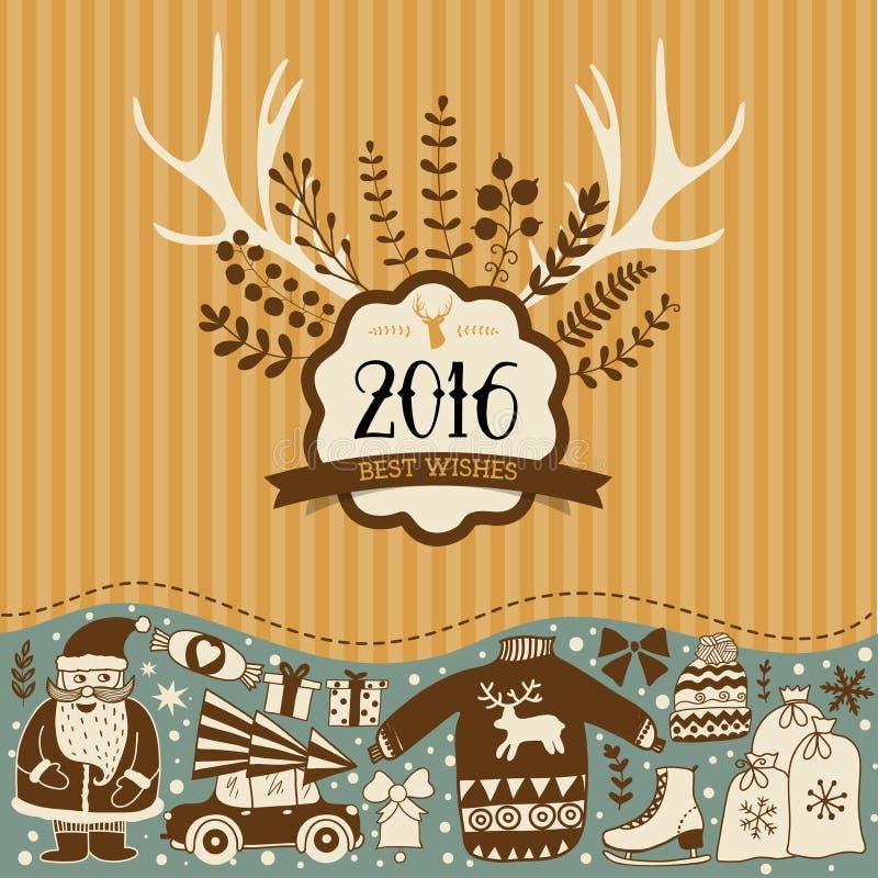 圣诞节贺卡模板,传染媒介圣诞快乐 向量例证