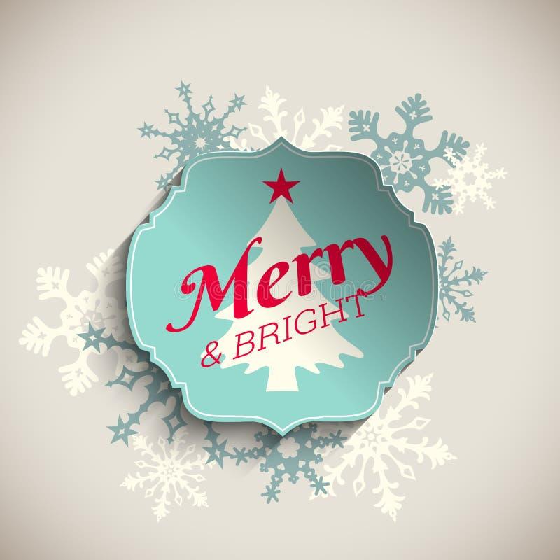 圣诞节贺卡,发短信给快活和明亮与抽象雪花,例证 皇族释放例证
