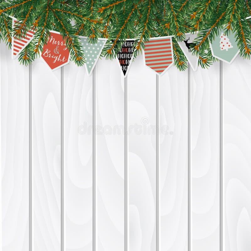 圣诞节贺卡,邀请,与传统装饰的网横幅 冷杉,云杉的分支,纸旗子串  皇族释放例证