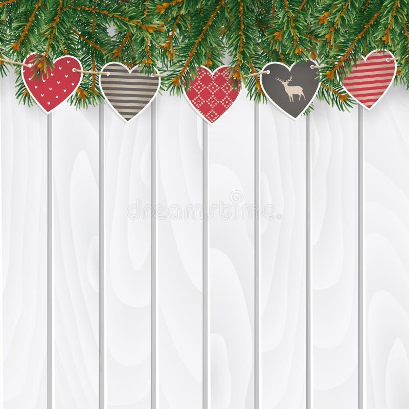 圣诞节贺卡,邀请,与传统装饰的网横幅 冷杉,云杉的常青分支,心脏串  皇族释放例证