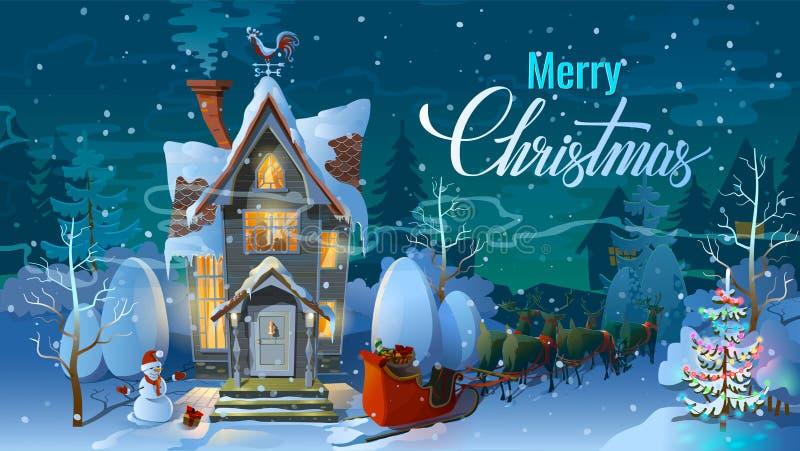 圣诞节 夜,圣诞老人和他的驯鹿雪橇与雪撬 冬时,条目家庭房子在一个假日前 不适 皇族释放例证