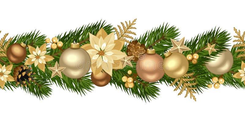 圣诞节水平的无缝的背景。 库存例证