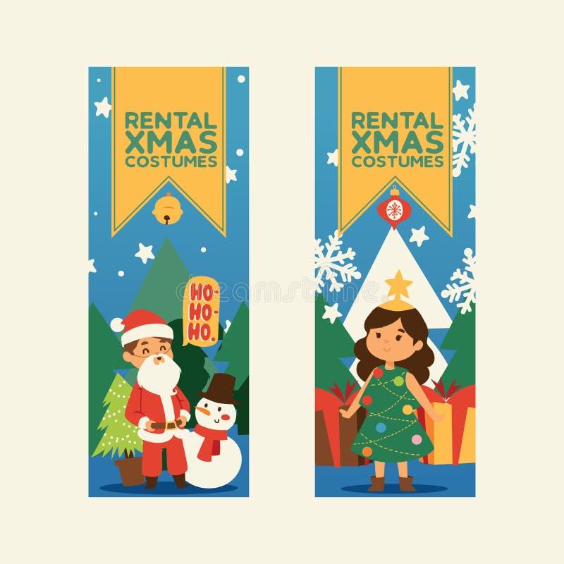 圣诞节2019新年快乐贺卡圣诞老人和愉快的孩子儿童服装传染媒介背景横幅假日 皇族释放例证