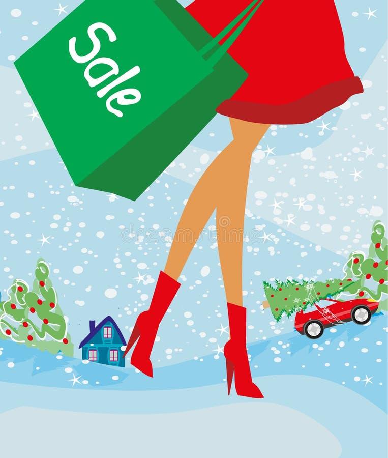 圣诞节购物-冬天销售卡片 库存例证
