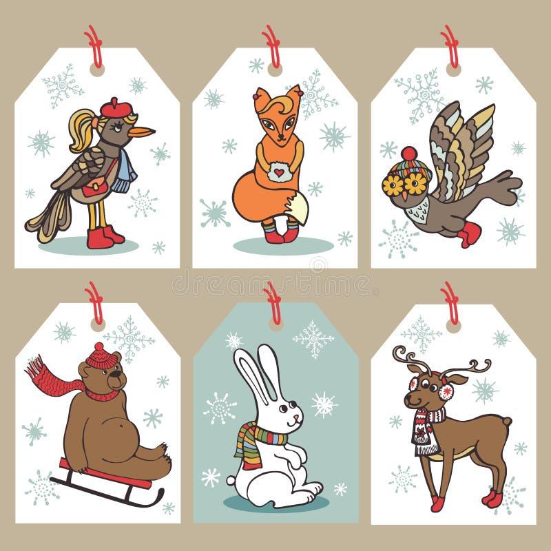 圣诞节滑稽的动物标记 向量例证