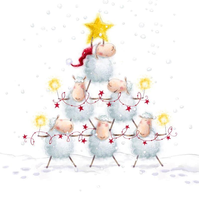 圣诞节绵羊 与星的圣诞树由逗人喜爱的绵羊做成 招呼的看板卡新年度 抽象空白背景圣诞节黑暗的装饰设计模式红色的星形 库存例证