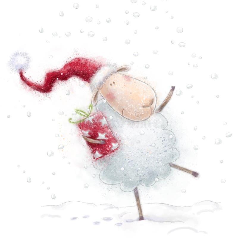 圣诞节绵羊 与礼物的逗人喜爱的绵羊在雪背景的圣诞老人帽子 看板卡圣诞节问候 新年好 库存例证