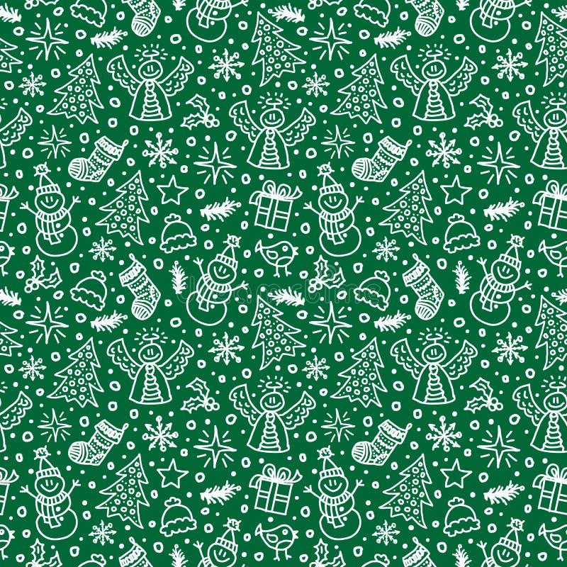 圣诞节绿色无缝的样式 向量 皇族释放例证