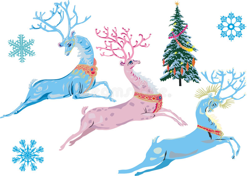 圣诞节deers幻想 库存例证