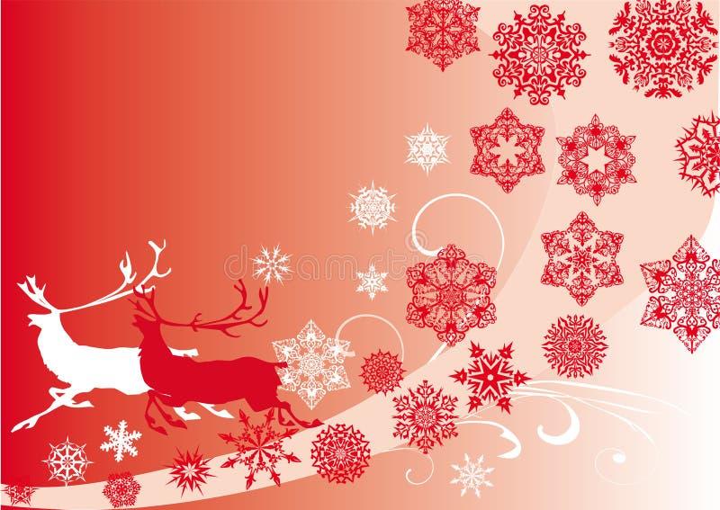 圣诞节deers模式红色雪花 库存例证