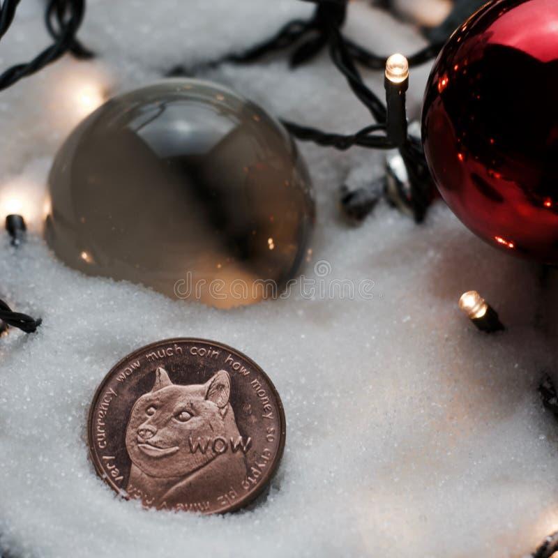 圣诞节dogecoin硬币 库存图片