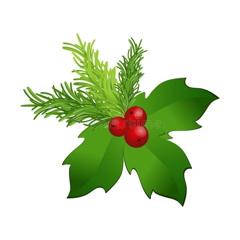 8圣诞节eps在向量白色的霍莉例证 皇族释放例证