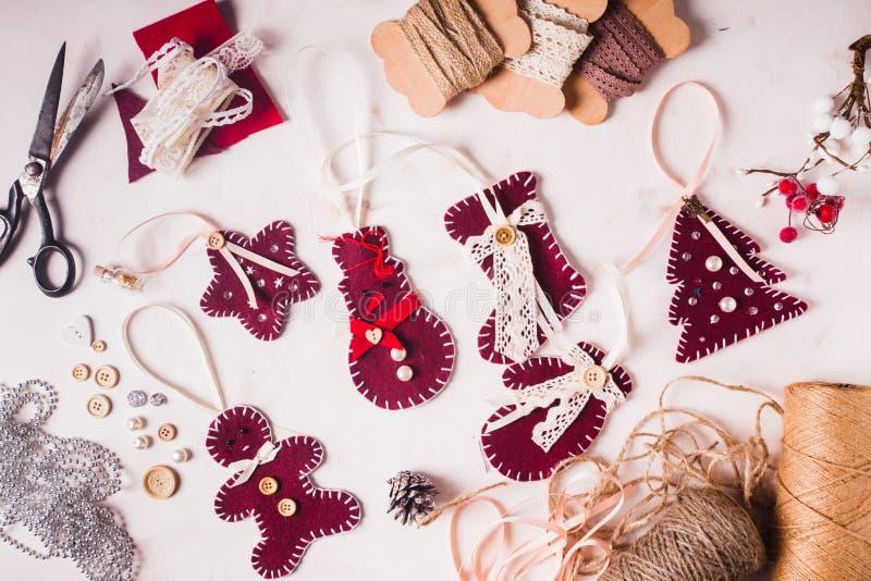 圣诞节felted装饰 库存图片