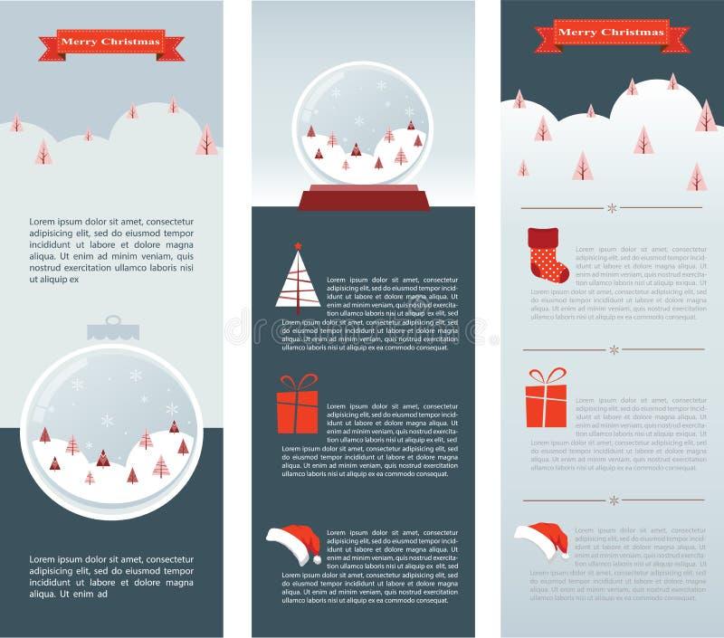 圣诞节Infographic套三张信息卡片 皇族释放例证