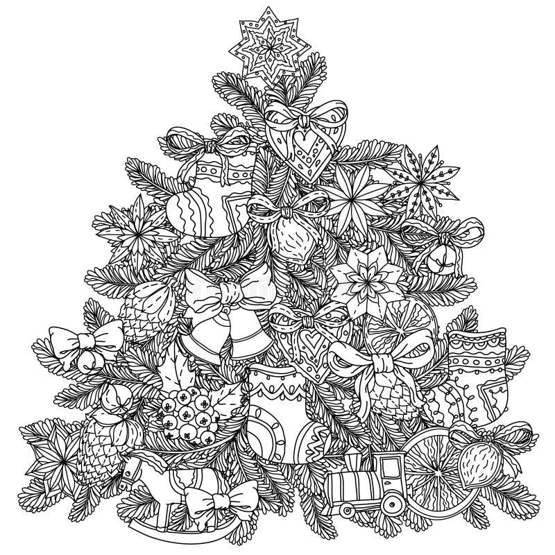 圣诞节treeChristmas树装饰品 向量例证