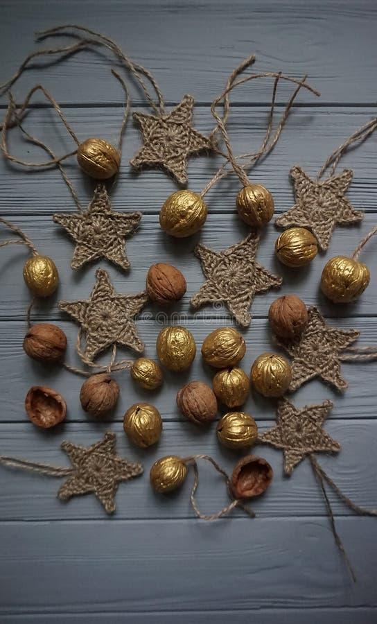 圣诞节wearth的装饰材料 免版税库存图片