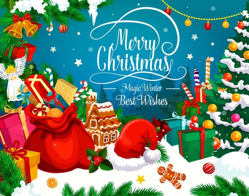 圣诞节Xmas礼物和圣诞老人帽子贺卡  库存例证
