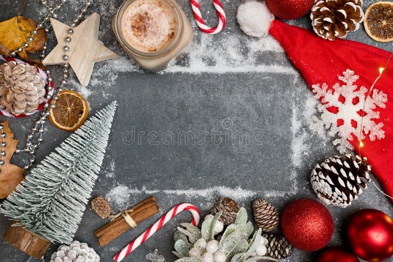 圣诞装饰布局背景 库存图片