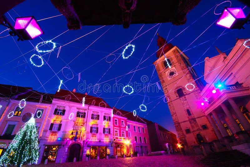 圣诞装饰,普图伊,斯洛文尼亚 免版税图库摄影