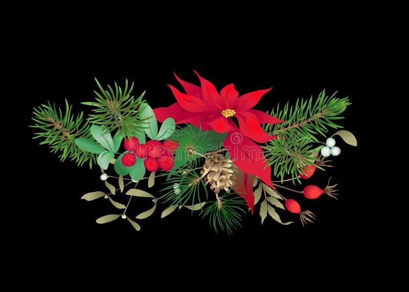 圣诞装饰,花圈由冷杉分支做成 皇族释放例证
