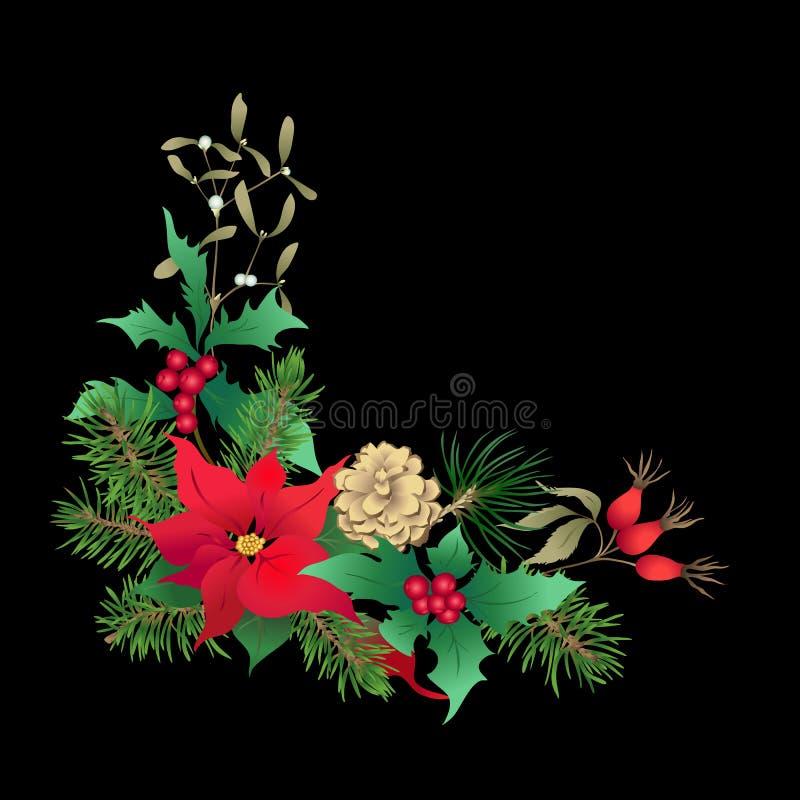 圣诞装饰,花圈由冷杉分支做成 库存例证