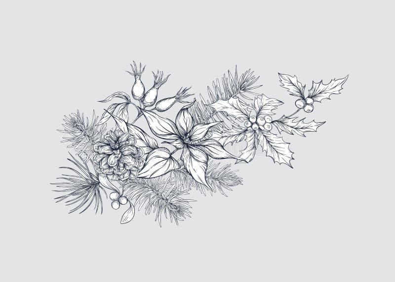 圣诞装饰,花圈由冷杉分支做成 向量例证