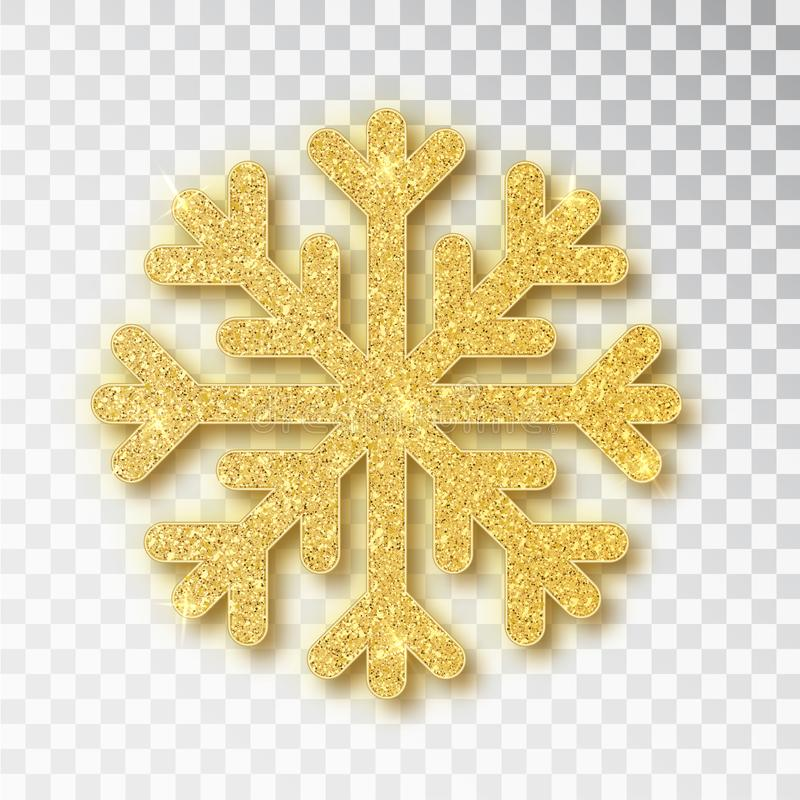 圣诞装饰,金黄雪花包括明亮的闪烁,在透明背景 Xmas装饰品金雪与 皇族释放例证