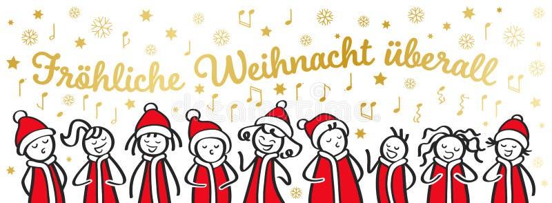 圣诞颂歌歌手、唱诗班、滑稽的唱德国圣诞歌曲,在圣诞老人服装,横幅的棍子形象的男人和妇女 库存例证