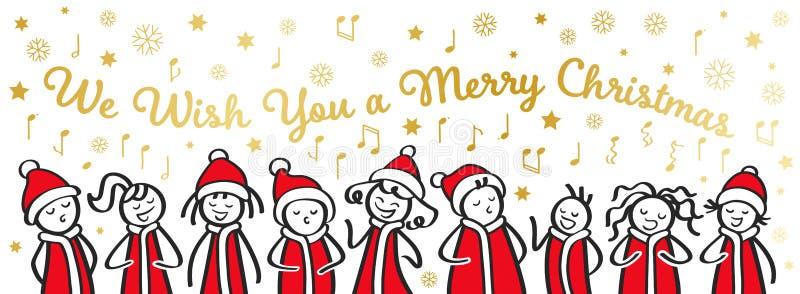 圣诞颂歌歌手、唱诗班、滑稽的唱歌男人和的妇女我们祝愿您圣诞快乐,在圣诞老人服装,横幅的棍子形象 向量例证