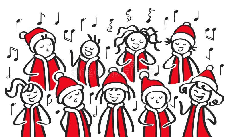 圣诞颂歌歌手、唱诗班、滑稽的唱歌男人和的妇女,在圣诞老人服装的棍子形象唱歌曲 向量例证